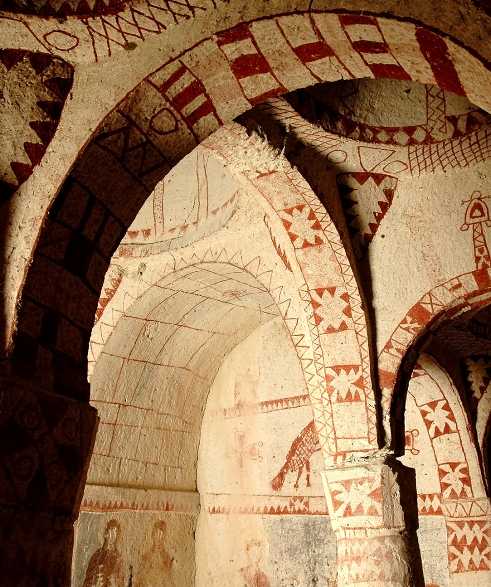 Frescos in the interior of an ancient church of Goreme