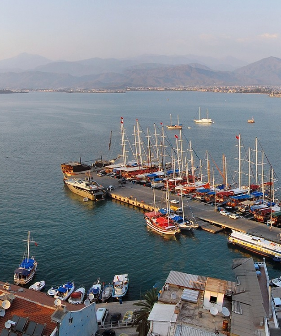 Panoramic view of Fethiye, Turkey in the afternoon