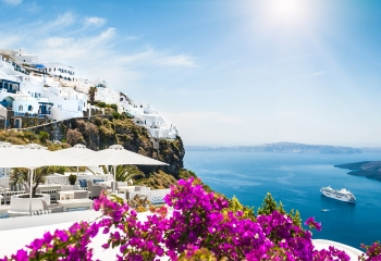 White Houses and Cruise Ship Landscape Island Greece